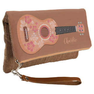 Ukulele custom name clutch bags