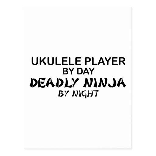Ukulele Deadly Ninja by Night Postcard