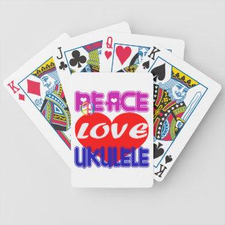 Ukulele del amor de la paz cartas de juego