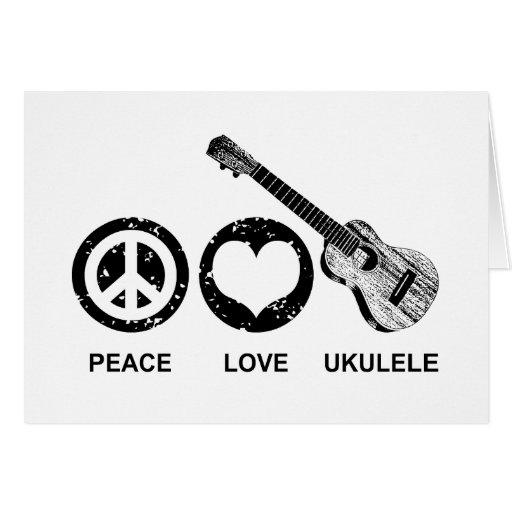 Ukulele del amor de la paz felicitación