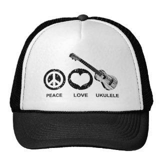 Ukulele del amor de la paz gorro