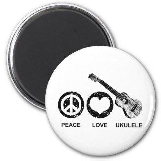 Ukulele del amor de la paz imán de frigorifico