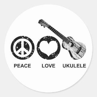 Ukulele del amor de la paz pegatina redonda