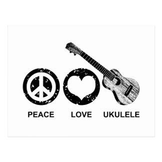 Ukulele del amor de la paz tarjeta postal