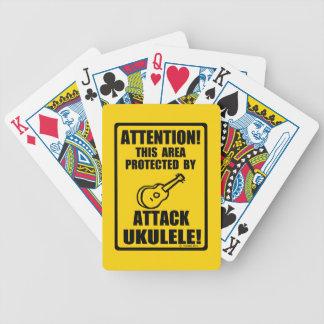 Ukulele del ataque baraja cartas de poker
