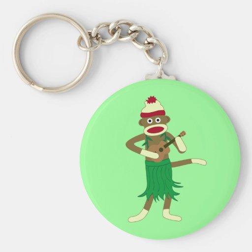 Ukulele del mono del calcetín llaveros personalizados