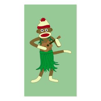 Ukulele del mono del calcetín tarjetas de visita
