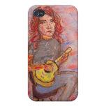 ukulele del playin del chica iPhone 4/4S fundas