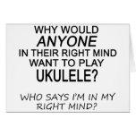 Ukulele derecho de la mente tarjeta