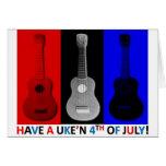 Ukulele el 4 de julio tarjeta de felicitación
