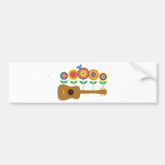 Ukulele Flowers Bumper Sticker