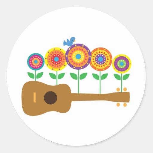 Ukulele Flowers Classic Round Sticker