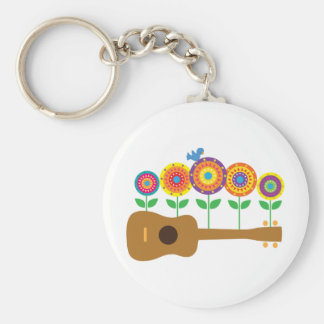 Ukulele Flowers Basic Round Button Keychain
