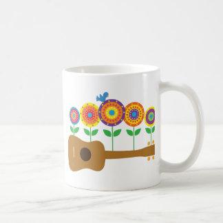 Ukulele Flowers Classic White Coffee Mug