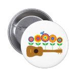 Ukulele Flowers Pinback Button