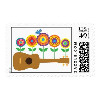 Ukulele Flowers Postage Stamp