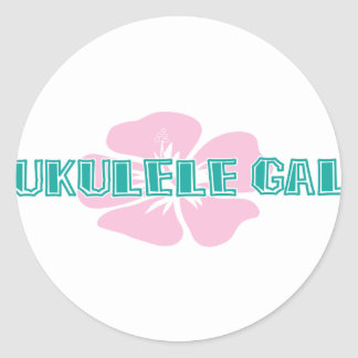 Ukulele Gal Classic Round Sticker