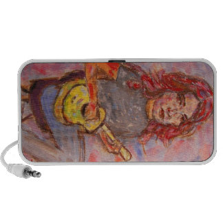 ukulele girl art mini speaker