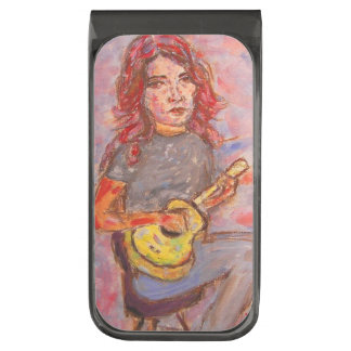 ukulele girl art gunmetal finish money clip