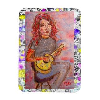 ukulele girl drip painting magnet