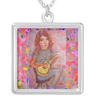 ukulele girl drip square pendant necklace