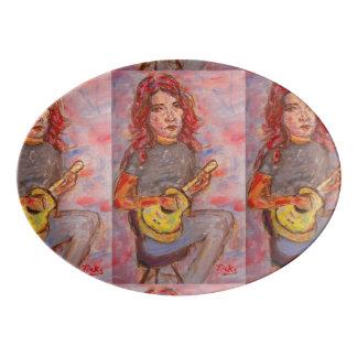 ukulele girl porcelain serving platter