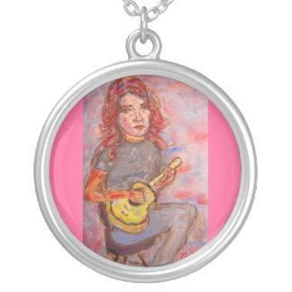 ukulele girl silver plated necklace