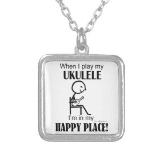 Ukulele Happy Place Square Pendant Necklace