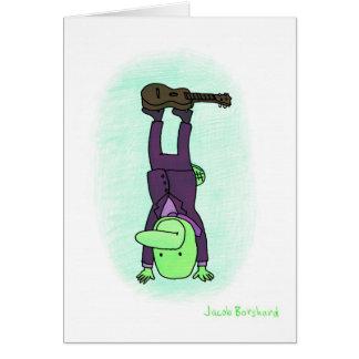 Ukulele Headstand Greeting Card
