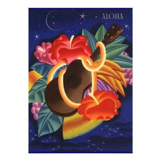 Ukulele Hibiscus Aloha Hawaiian Luau Invitations