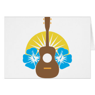 Ukulele Hibiscus Greeting Cards
