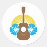 Ukulele Hibiscus Classic Round Sticker