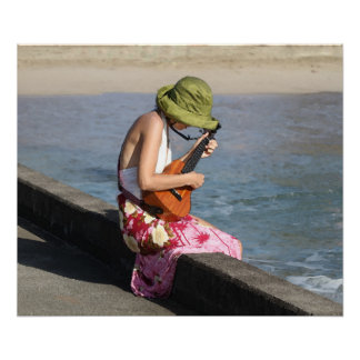 Ukulele Lady in Hawaii Poster