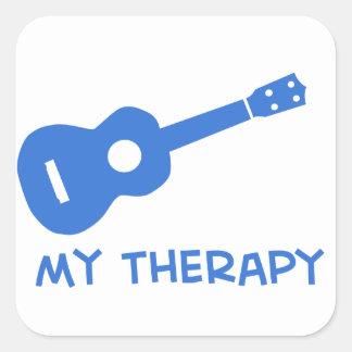 Ukulele mi terapia pegatina cuadrada