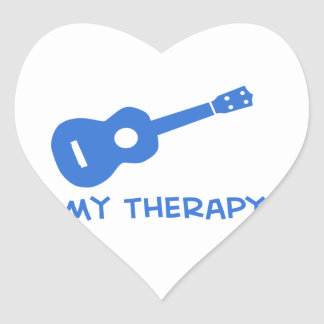 Ukulele mi terapia pegatina en forma de corazón
