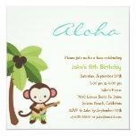 Ukulele Monkey Luau Party Invitation