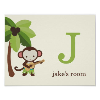 Ukulele Monkey Personalized Kids Wall Art