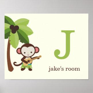 Ukulele Monkey Personalized Kids Wall Art Poster