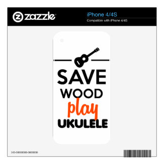 Ukulele Musical Instrument - Save Wood play ukulel Decals For The iPhone 4