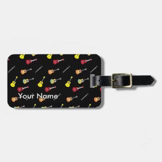 Ukulele Pattern Custom Name Musical Luggage Tag