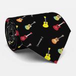Ukulele Pattern Musical Black Neck Tie