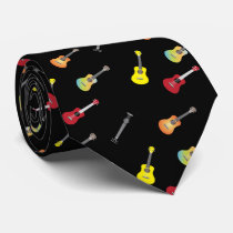 Ukulele Pattern Musical Black Neck Tie
