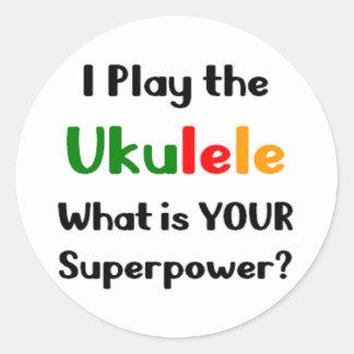 Ukulele player classic round sticker