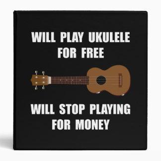 Ukulele Playing 3 Ring Binder