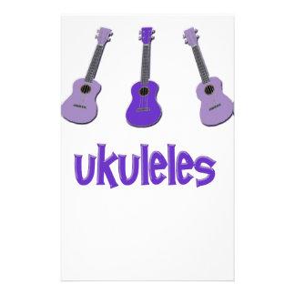 Ukulele púrpura papelería personalizada