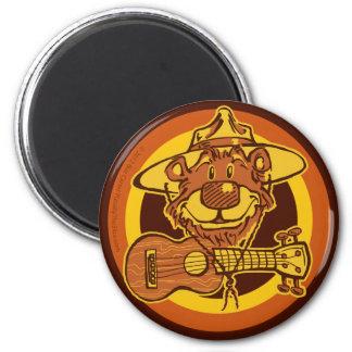 """Ukulele Rangers """"Bear + Uke"""" Round Magnet"""