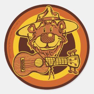 """Ukulele Rangers """"Smiling Bear with Uke"""" Cartoon Lo Classic Round Sticker"""