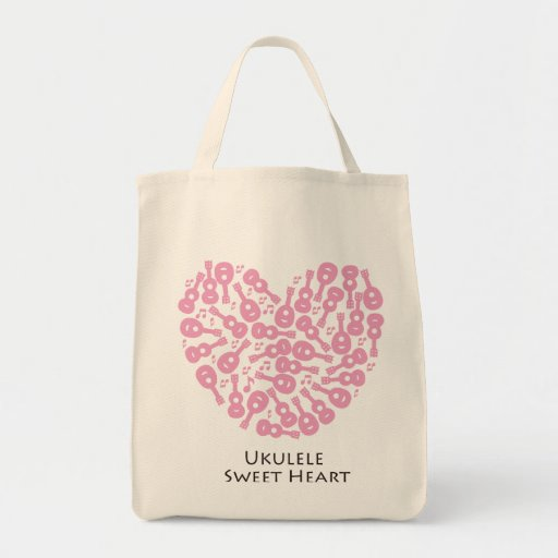 Ukulele Sweet Heart Grocery Tote Bag