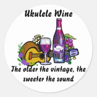 Ukulele Wine Classic Round Sticker