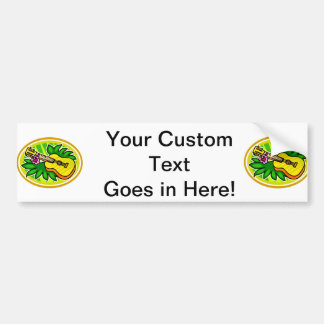 Ukulele With Leaves and Flower Circle , Yellow Bumper Sticker